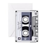 Customizable Cassette Tape - Grey Greeting Cards (