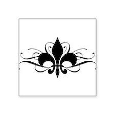 "fleur-de-lis-swirls_dark.png Square Sticker 3"" x 3"