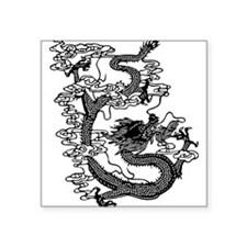 "dragon_black.png Square Sticker 3"" x 3"""