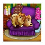 POMERANIAN DOGS CHAIR Tile Coaster