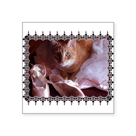 "CAT-BALLET_TEE.png Square Sticker 3"" x 3"""