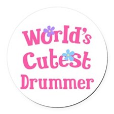 Worlds Cutest Drummer Round Car Magnet