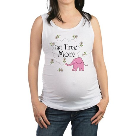 1st time mom pink elephant.png Maternity Tank Top