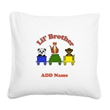 Little Brother Zoo Square Canvas Pillow