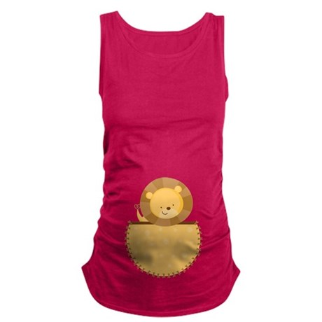 Lion Baby Pregnancy Belly Print Maternity Tank Top