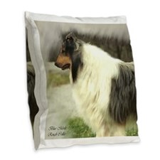 Blue Merle Collie Burlap Throw Pillow
