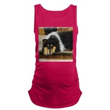Rough Tri Collie Maternity Tank Top