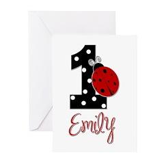 EMILY Ladybug 1st Birthday 1 Greeting Cards (Pk of