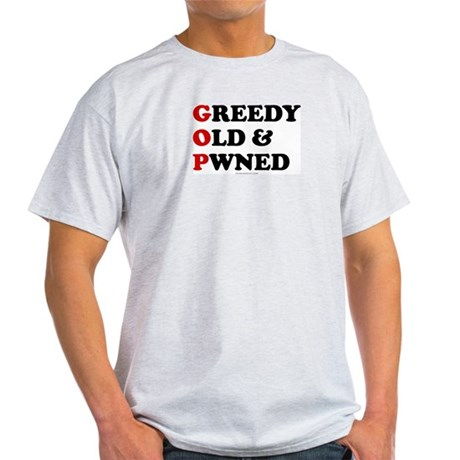 Greedy Old & Pwned Ash Grey T-Shirt