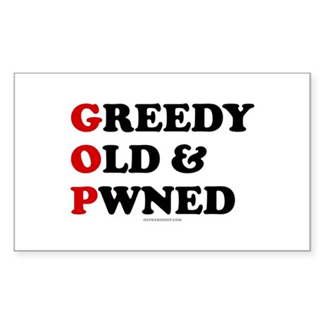 Greedy Old & Pwned Rectangle Sticker