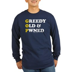 Greedy Old & Pwned Long Sleeve Navy T-Shirt