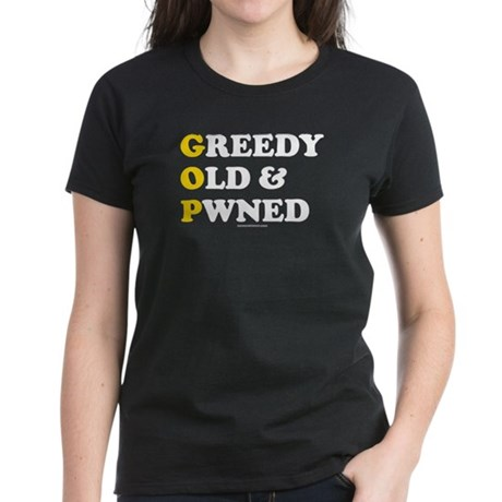 Greedy Old & Pwned Womens Black T-Shirt