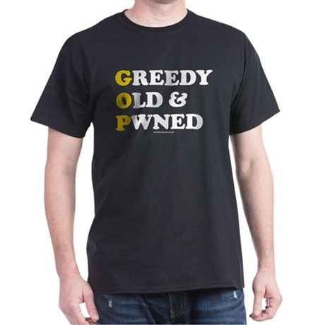 Greedy Old & Pwned Black T-Shirt