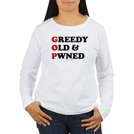 Greedy Old & Pwned Womens Long Sleeve T-Shirt