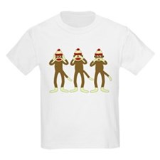 Hear, See, Speak No Evil Sock Monkeys Kids T-Shirt