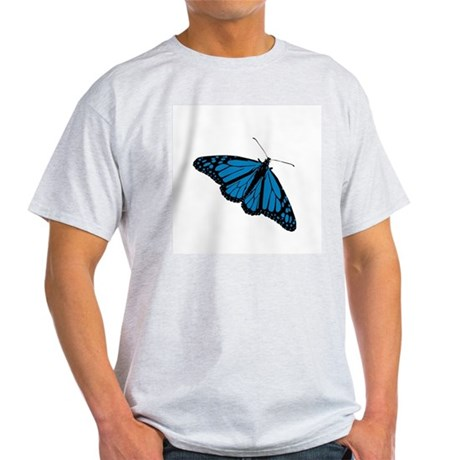 Blue Butterfly Ash Grey T-Shirt