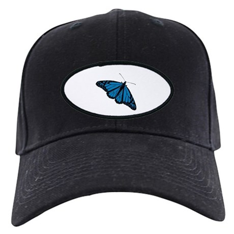 Blue Butterfly Black Cap