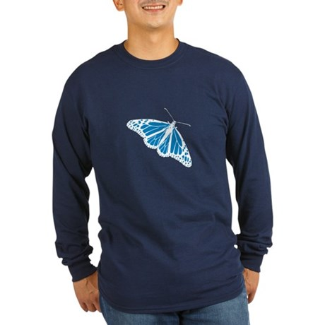 Blue Butterfly Long Sleeve Dark T-Shirt