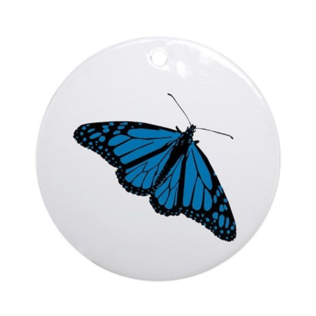 Blue Butterfly Ornament (Round)