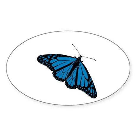 Blue Butterfly Oval Sticker