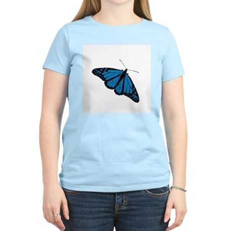Blue Butterfly Women's Pink T-Shirt
