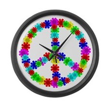 1960's Era Hippie Flower Peace Si Large Wall Clock