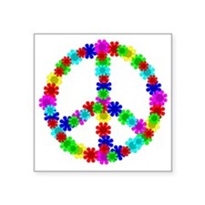 "1960's Era Hippie Flower Pe Square Sticker 3"" x 3"""