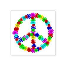 """1960's Era Hippie Flower Pe Square Sticker 3"""" x 3"""""""
