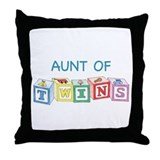 Aunt of Twins Blocks Throw Pillow