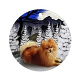 POMERANIAN DOG WINTER Ornament (Round)
