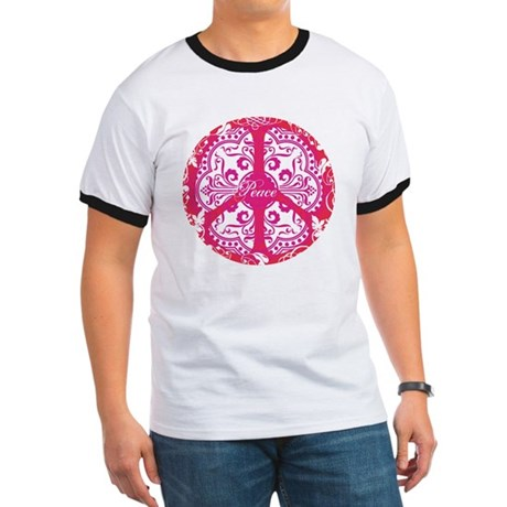 funky peace sign Men's Ringer Tee