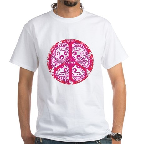 funky peace sign Men's White T-Shirt