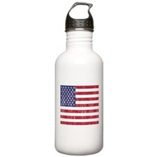 Distressed American Flag Water Bottle