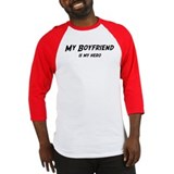 Boyfriend is my hero Baseball Jersey