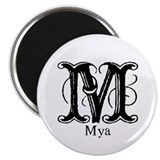 "Mya: Fancy Monogram 2.25"" Magnet (10 pack)"