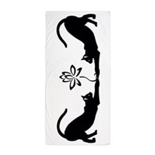 Cats Stretching with Lotus Beach Towel