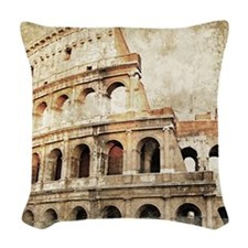 Vintage Roman Coloseum Woven Throw Pillow