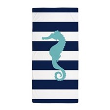 Teal Seahorse on Blue Stripes Beach Towel