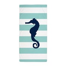 Blue Seahorse on Mint Stripes Beach Towel