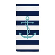 Teal Anchor on Blue Stripes Beach Towel