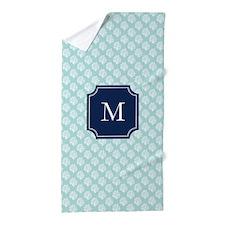 Mint Coral Pattern Beach Towel