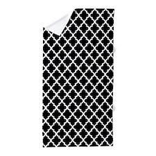 Black and White Quatrefoil Beach Towel