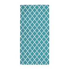 Teal Quatrefoil Beach Towel