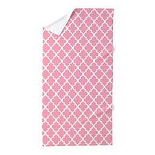 Pink Quatrefoil Beach Towel