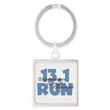 13.1 Run Blue Square Keychain