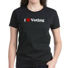 I Love Voting Womens Black T-Shirt