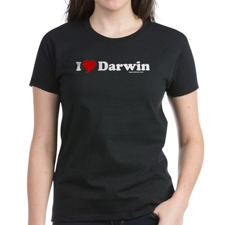 I Love Darwin Womens Black T-Shirt