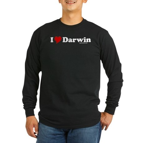 I Love Darwin Long Sleeve Black T-Shirt