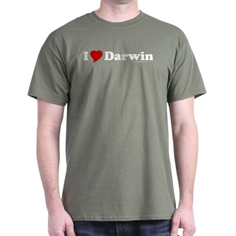 I Love Darwin Military Green T-Shirt