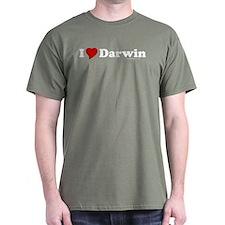 I Love Darwin Military Green T-Shirt